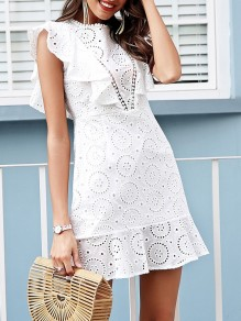 White Patchwork Lace Cut Out Ruffle Sleeveless Party Midi Dress