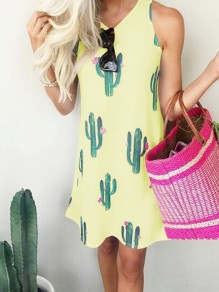 Yellow Floral Cactus Print Condole Belt Irregular Round Neck Sleeveless Bohemian Midi Dress