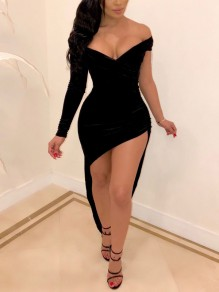 Black Off Shoulder Irregular High-Low Bodycon V-neck Party Maxi Dress
