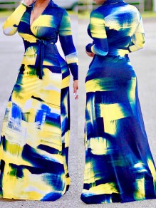 Yellow Belt Tie Dye V-neck Plus Size Long Sleeve Turndown Collar Maxi Dress