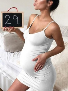 White Condole Belt Pleated V-neck Sleeveless Fashion Maternity Dress