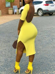Yellow Backless Side Slit Short Sleeve Hip Bodycon Clubwear Fashion Midi Dress
