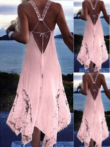 Pink Patchwork Lace Irregular Lace-up Backless Beach Midi Dress