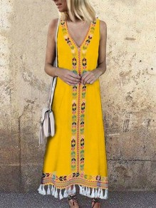Yellow Floral Print Tassel V-neck Bohemian Maxi Dress