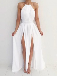 White Halter Neck Pleated Backless Thigh High Side Slits Boho Beachwear Party Maxi Dress