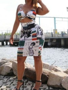 White Newspaper Print Backless Spaghetti Strap Fashion Two-Piece Dress