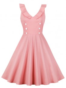 Pink Draped Double Breasted V-neck Sleeveless Elegant Party Midi Dress