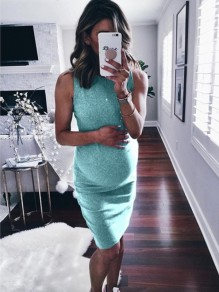 Green Pleated Round Neck Sleeveless Fashion Maternity Casual Midi Dress