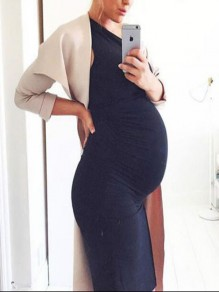 Navy Blue Bodycon Round Neck Sleeveless Fashion Maternity Dress