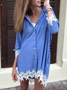 Blue Patchwork Lace Denim Single Breasted Pockets Irregular Swallowtail V-neck Long Sleeve Elegant Blouse Midi Dress