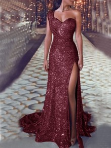 Wine Red Sequin Draped Asymmetric Shoulder Irregular Side Slit V-neck Sleeveless Elegant Maxi Dress