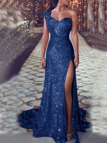 Blue Sequin Draped Asymmetric Shoulder Irregular Side Slit V-neck Sleeveless Elegant Maxi Dress