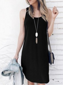 Black Condole Belt Draped Round Neck Sleeveless Fashion Midi Dress