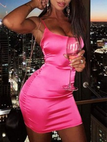 Pink Diamond Bright Spaghetti Strap Sleeveless Backless Bodycon Rubber Cluewear Mini Dress