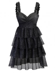 Black Cascading Ruffle Pleated Glitter Sparkly Backless V-neck Sleeveless Party Midi Dress