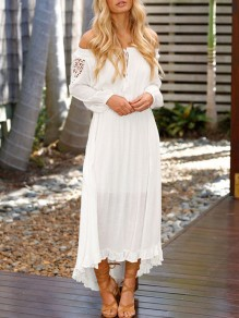 White Lace Crochet Ruffle Draped Drawstring High-low Off Shoulder Long Sleeve Boho Frill Maxi Dress