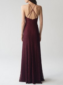 Burgundy Lace Draped Spaghetti Strap Backless Elegant Banquet Maxi Dress