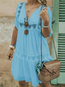 Light Blue Patchwork Cut Out V-neck Bohemian Mini Dress