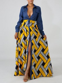Yellow Patchwork Geometric Pattern Single Breasted Pockets Turndown Collar Bohemian Maxi Dress