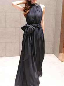 Black Chiffon Draped Pleated Sashes Bow Irregular Backless Band Collar Sleeveless Bohemian Maxi Dress