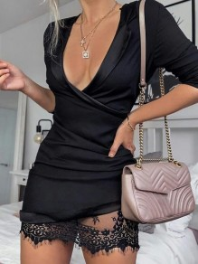 Black Patchwork Lace Cut Out Irregular Pleated Cross V-neck Long Sleeve Elegant Mini Dress