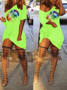 Green Lips Print One Off Shoulder Irregular Party Mini Dress