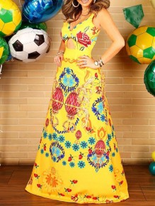 Yellow Tribal Print Cut Out Pleated V-neck Bohemian Beachwear Party Maxi Dress