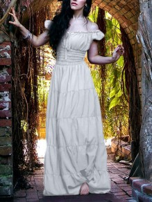 White Off Shoulder Pleated Elegant Prom Evening Party Maxi Dress