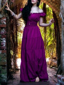Purple Off Shoulder Pleated Elegant Prom Evening Party Maxi Dress