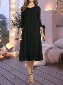 Black Round Neck Elbow Sleeve Big Swing Flowy Casual Ladies Homecoming Party Midi Dress