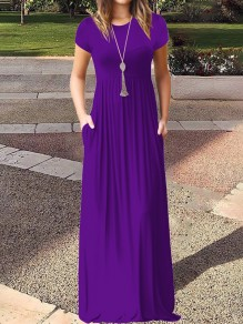 Purple Pockets Short Sleeve Round Neck Loose Casual Ladies Maxi Dress