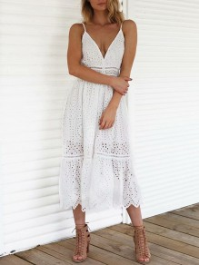 White Lace Cut Out Single Breasted Adjustable-straps V-neck Skirted Flowy Beach Midi Dress