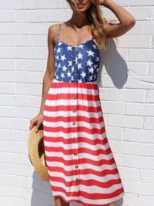 White American Flag Print V-neck Shoulder-Strap Single Breasted Flowy Beach Midi Dress