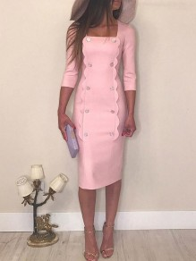 Pink Double Breasted Square Neck Slit Elegant Cocktail Party Midi Dress