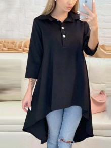 Black Swallowtail Irregular Single Breasted Pleated V-neck Three Quarter Length Sleeve Fashion Midi Dress