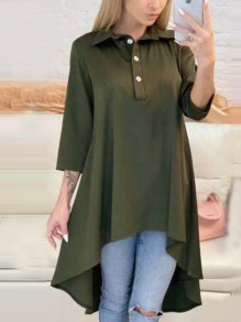Green Swallowtail Irregular Single Breasted Pleated V-neck Three Quarter Length Sleeve Fashion Midi Dress