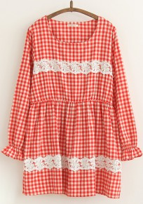 Red Plaid Lace Long Sleeve Dress