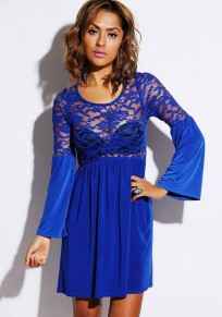 Blue Patchwork Lace Sexy Dress
