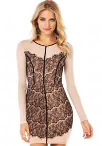 Nude Patchwork Lace Sexy Dress