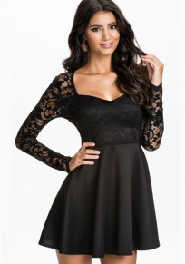 Black Patchwork Hollow-out Lace Sexy Dress
