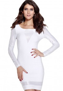 White Plain Bright Wire Sexy Dress
