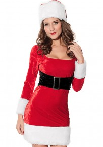 Red Patchwork With Cap Long Sleeve Christmas Dress
