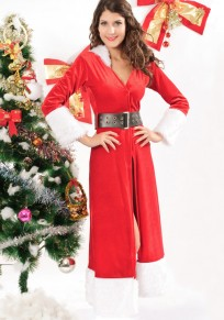 Red Patchwork Belt Hooded Christmas Dress