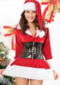 Red Patchwork Rabbit Fur 5-in-1 Christmas Dress