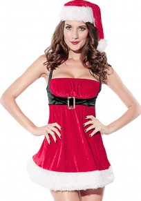 Red Patchwork Condole Belt 4-in-1 Christmas Dress