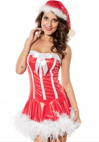Red Patchwork Bustier With Cap Christmas Dress