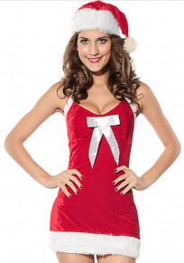 Red Patchwork Bow With Cap Christmas Dress