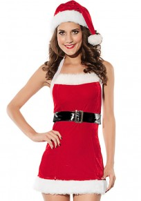 Red Patchwork Condole Belt With Cap Christmas Dress