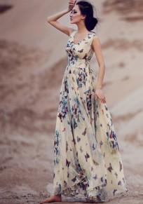 Robe longue floral imprimé papillon encolure V sans manches mousseline bohème beige
