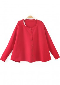 Bright Red Plain Buttons Long Sleeve Cardigan